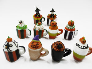 Dollhouse Miniatures Set Of 10 Halloween Cupcake Mug cake Seasonal Supply 13693