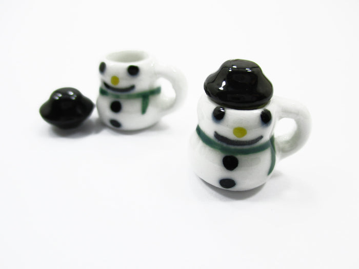 Dollhouse Miniatures 2 Snowman Ceramic Cup Mug Christmas Supply Charms 13695