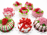 Dollhouse Miniatures Food Set 2cm 8 Mixed Rose Flower Cake Supply Charms 13703