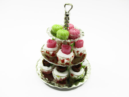 Dollhouse Miniature Set 3 Layer Bakery Cupcake Fill In Metal Display Stand 13725