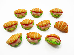 Dollhouse Miniatures Food Lot 10 Croissant Ham Cheese Burger Bakery Supply 13730