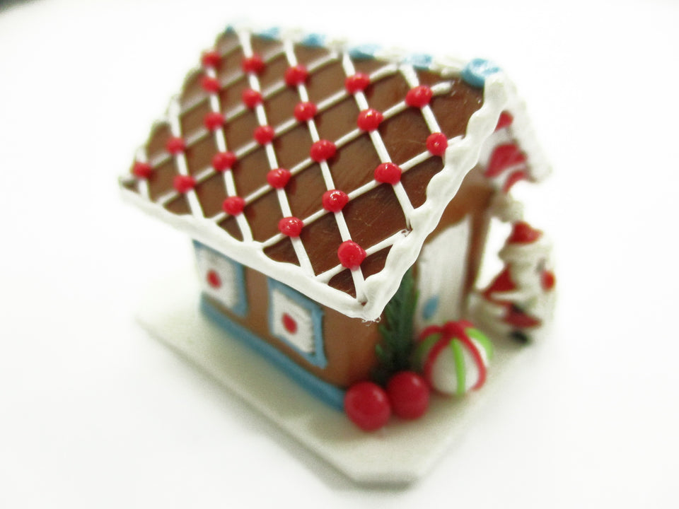 Dollhouse Miniature Clay Gingerbread House Candy Sweet Food Christmas A 13769