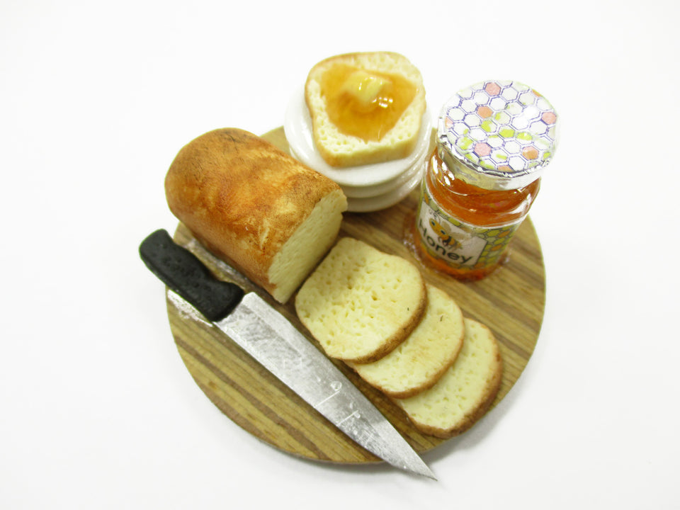 Dollhouse Miniature Food Loaf Of Bread With Honey Wooden Board Preparation 13780