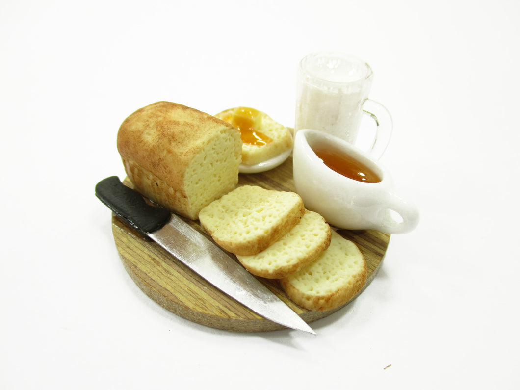 Dollhouse Miniature Food Loaf Of Bread With Milk Wooden Board Set Supply 13785