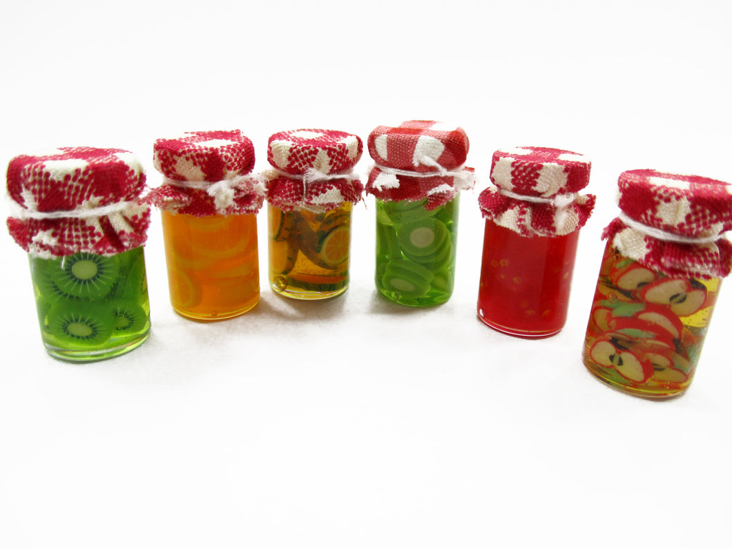 Dollhouse Miniature 6 Glass Jars of Mixed Fruits Food 1:12 Preserved Fruit 13786