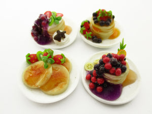 Dollhouse Miniature Food 8 Ceramic Plates Of Dessert Mixed Pancake Supply 13787