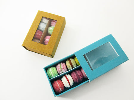 Dollhouse Miniatures Food 2 Boxes Of Color Mixed Macaroon Paper Supply 13792