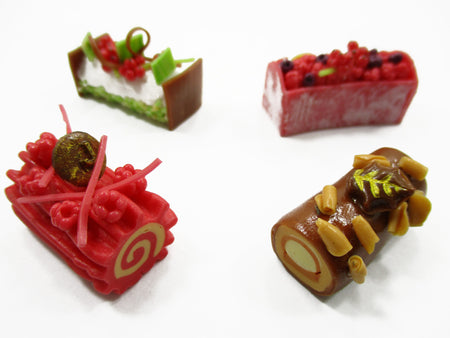Dollhouse Miniatures Food 4 Mixed Log Roll Luxury Cake Supply Charms 13839