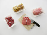 Dollhouse Miniatures Fresh Food Pack Raw meat Preparation With Knife Set 13849