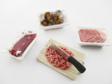 Dollhouse Miniatures Fresh Food Pack Raw meat Preparation With Knife Set 13850
