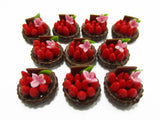 Dollhouse Miniatures Lot10 Mini Strawberry Fruit Tart Cake Bakery Food 13881