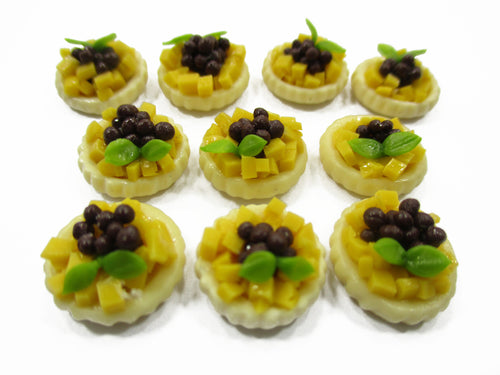 Dollhouse Miniature Lo 10 Mini Mango Blueberry Fruit Tart Cake Bakery Food 13882
