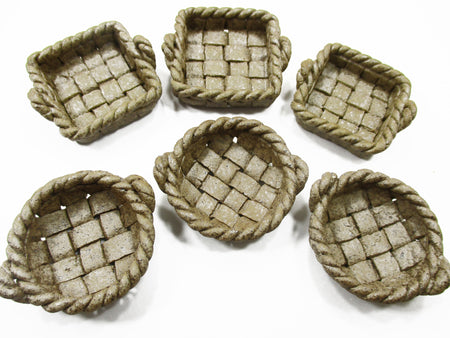 Dollhouse Miniatures Ceramic 6 Mixed Round Square Basket Stoneware Supply 13886