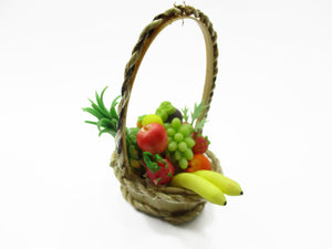 Dolls House Miniature Food 1:12 Picnic Wicker Basket Assorted Fruit Supply 13919