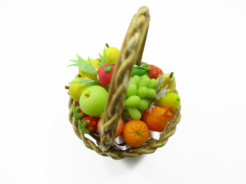 Dollhouse Miniatures Food 1:12 Picnic Wicker Basket Assorted Fruit Supply 13924