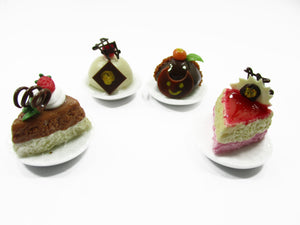 Dollhouse Miniatures Food 1:12 Mini Luxury Cake On Ceramic 4 Plates Supply 13930