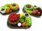 Dolls House Miniatures Food 1:12 Fruit Cake Coffee Fruit  3 Ceramic Plates 13946