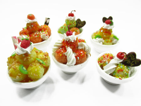 Dollhouse Miniatures Food 6 Mixed Ice Cream Sundae Ceramic Cup Supply 13952
