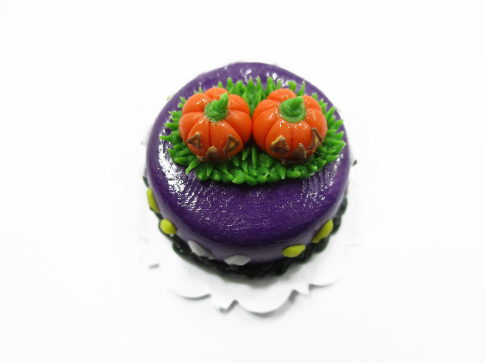 Dollhouse Miniatures Halloween Cake 2 cm Pumpkin Seasonal Handmade 13964