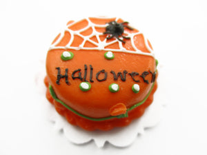 Dollhouse Miniatures Halloween Cake 2 cm Spider Web Seasonal Handmade 13968