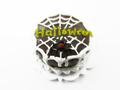 Dollhouse Miniatures Halloween Cake 2 cm Spider Web Seasonal Handmade 13983