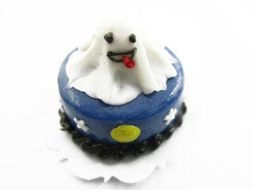 Dollhouse Miniatures Halloween Cake 2 cm Ghost Seasonal Handmade Supply 13985