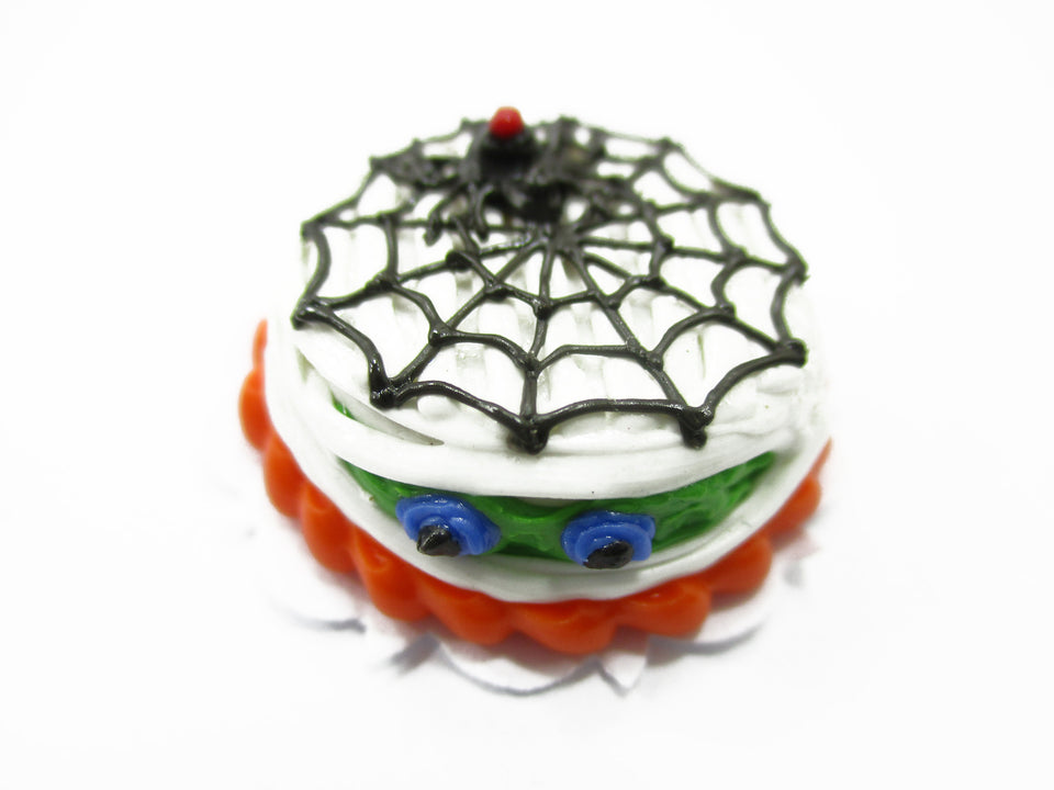 Dollhouse Miniatures Halloween Cake 2 cm Spider Web Seasonal Handmade 14001