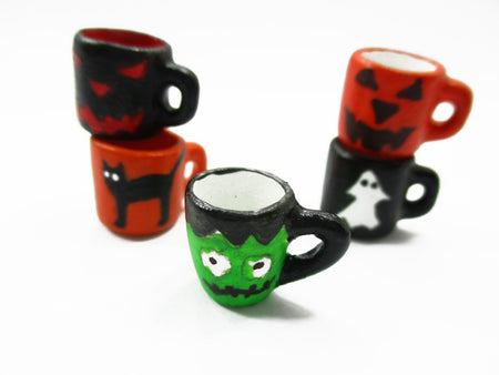Dollhouse Miniature 5 Hand Painted Halloween Seasonal 1:12 Cup Mug Ceramic 14004