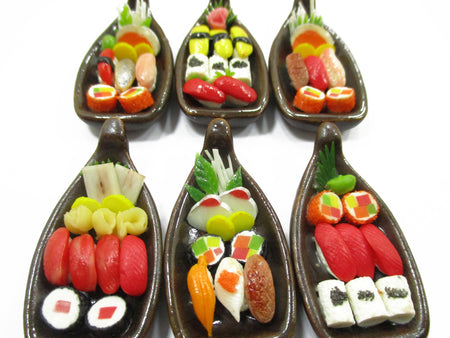 Dollhouse Miniature Japanese Food 6 Bento Sushi Lunch Set Supply Boat 14055