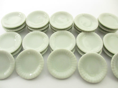25 mm Mini White Plate Dish Dollhouse Miniatures Ceramic Kitchen Supply