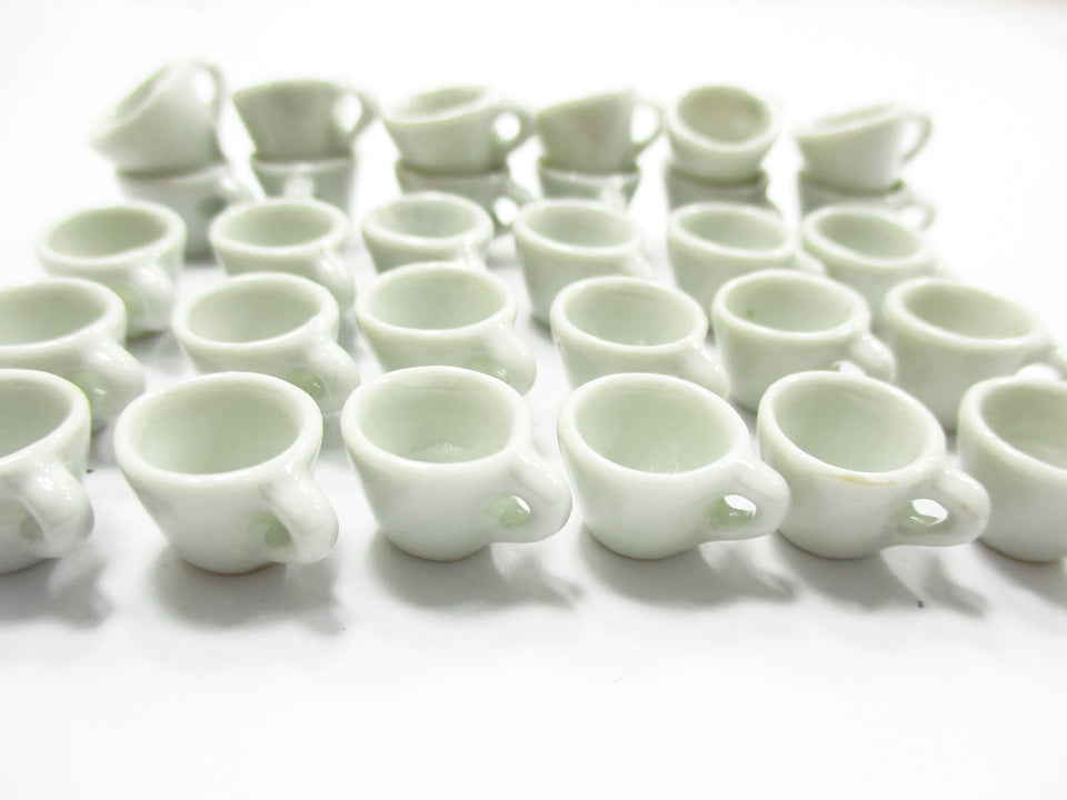 Dollhouse Miniatures Supply Ceramic White Coffee Mug Tea Cup #S Charms