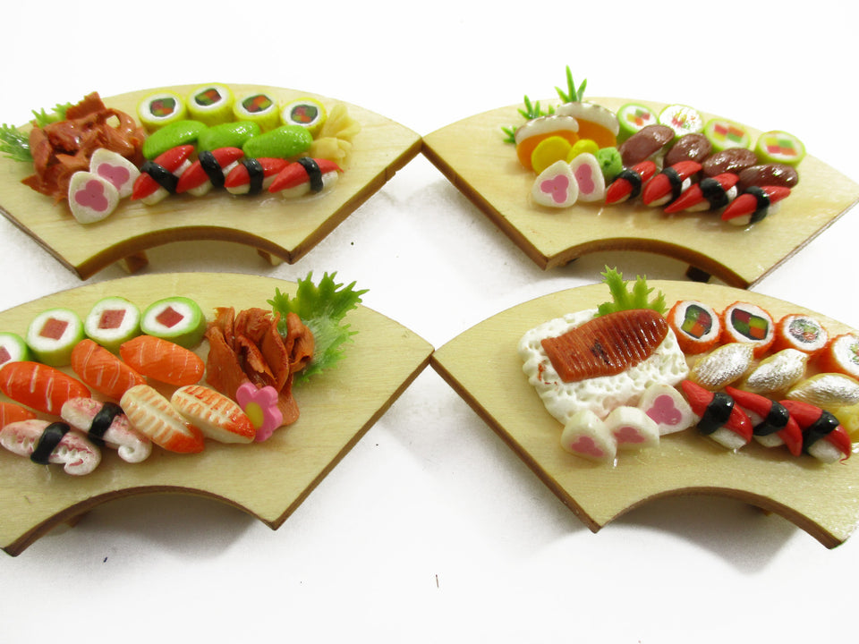 Dolls House Miniatures Japanese Food 4 Sushi Lunch Curve Box Wooden Supply 14126