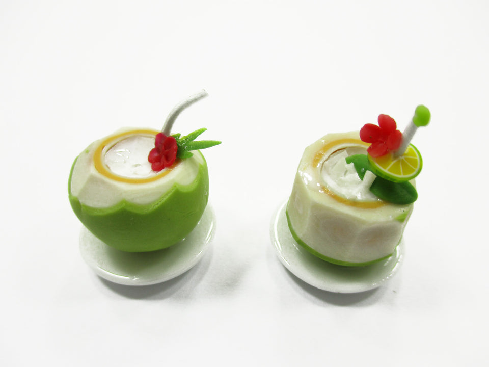 Dollhouse Miniatures Food 2 Coconut Cocktail Drink Beverage Supply 14139