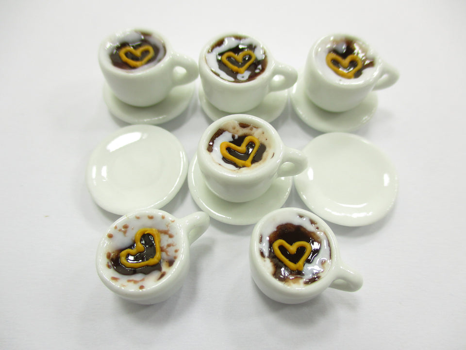 Dollhouse Miniature Drink Beverage Set 6 Coffee Ceramic Cup Saucer Supply  14158