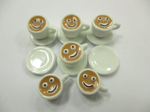 Dollhouse Miniature Drink Beverage Set 6 Coffee Ceramic Cup Saucer Supply  14167