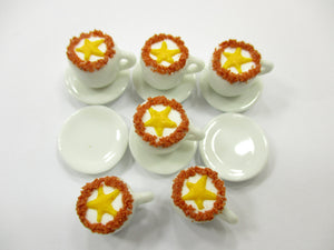 Dollhouse Miniature Drink Beverage Set 6 Coffee Ceramic Cup Saucer Supply  14168