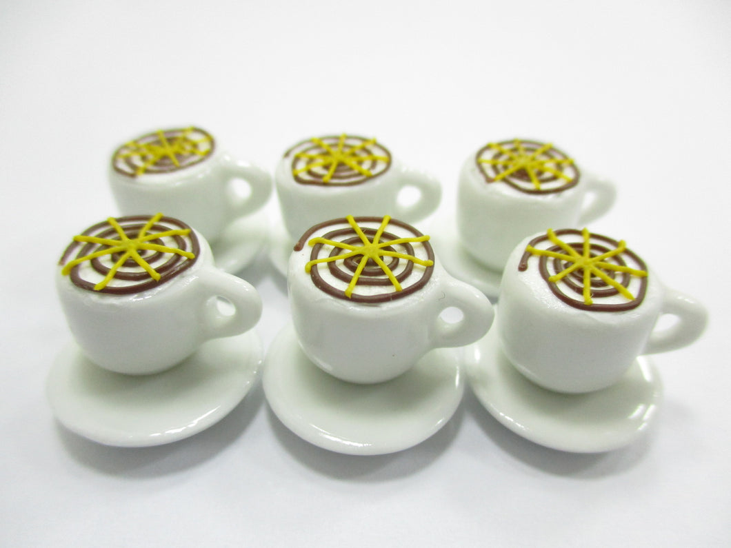 Dollhouse Miniature Drink Beverage Set 6 Coffee Ceramic Cup Saucer Supply  14170