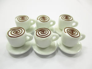 Dollhouse Miniature Drink Beverage Set 6 Coffee Ceramic Cup Saucer Supply  14171