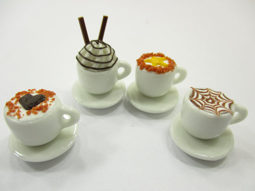 Dollhouse Miniatures Drink Beverage Set 4 Mixed Coffee Ceramic Cup Supply 14173