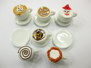 Dollhouse Miniatures Drink Beverage Set 6 Mixed Coffee Ceramic Cup Supply 14174