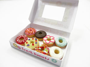 Dollhouse Miniatures Food Mixed Doughnut Paper Box Bakery Dessert Supply 14177