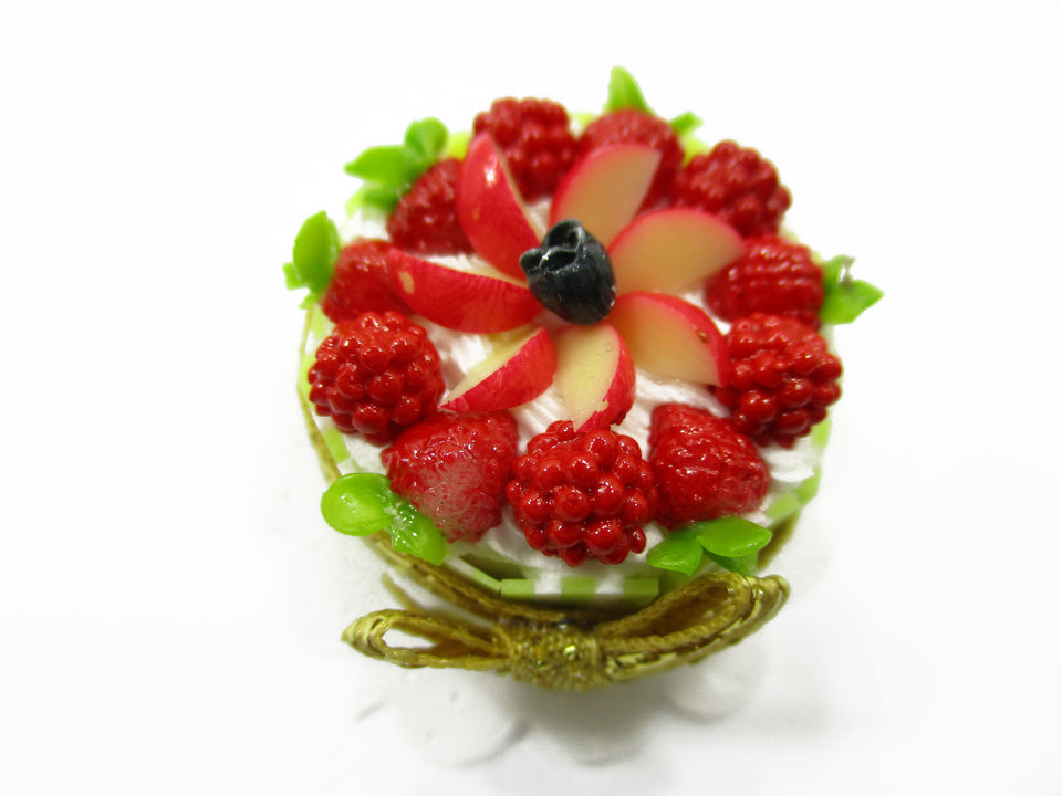 Dollhouse Miniatures Food 2.5 cm Fruit Mixberry Cake Handmade Dessert 14193