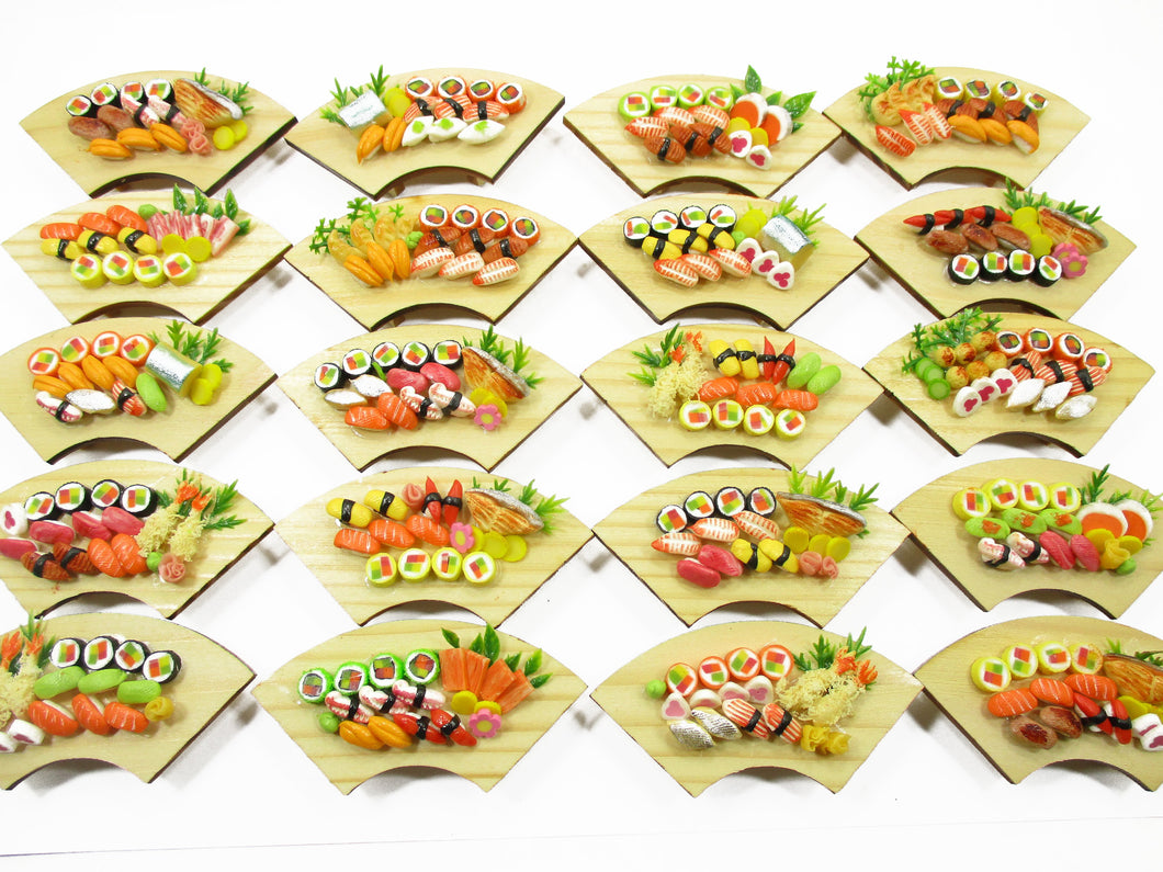 Dollhouse Miniatures Japanese Food 20 Sushi Lunch Box Curve WHOLESALE 14281