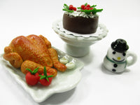 Dollhouse Miniatures Food Roast Turkey Chicken Christmas Cake Supply Set 14308