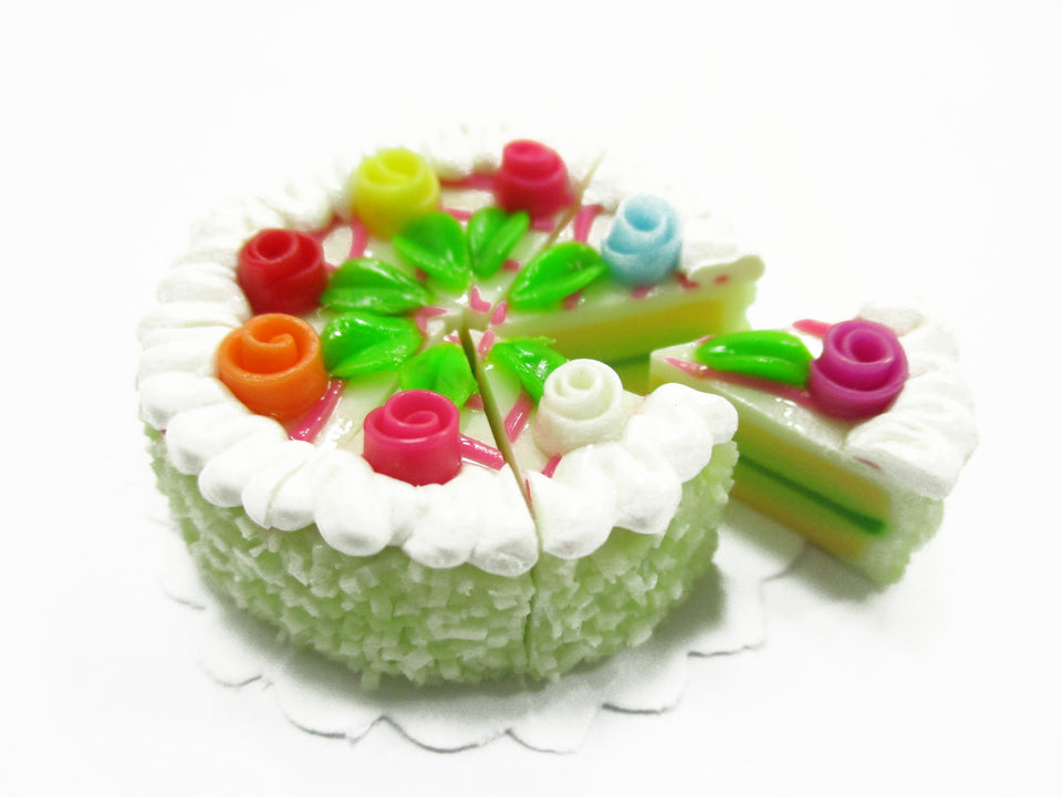 Dollhouse Miniatures Food 8 Cuts Slice Green Cake 3 cm Rose Flower Supply 14325