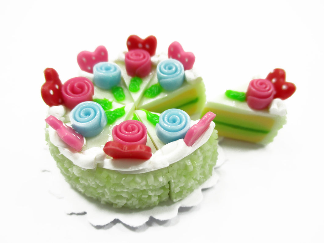 Dollhouse Miniatures Food 8 Cuts Slice Green Cake 3 cm Rose Flower Supply 14331