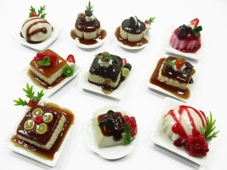 Dollhouse Miniatures Food 10 Fruit Pudding Ceramic Plates Desserts Sweet 14696