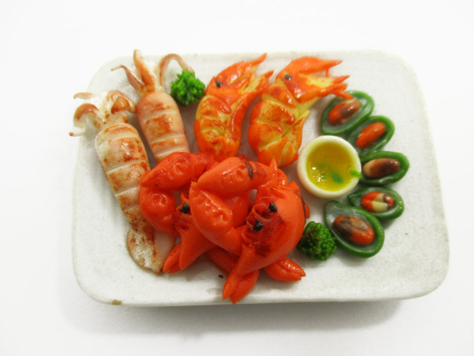1:6 Barbie Dollhouse Miniature Food Seafood Squid Prawn Crab Mussels 14714