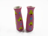 Dollhouse Ceramic Miniature 2 Vase Pink Paint Flower Plant Accessories 14859