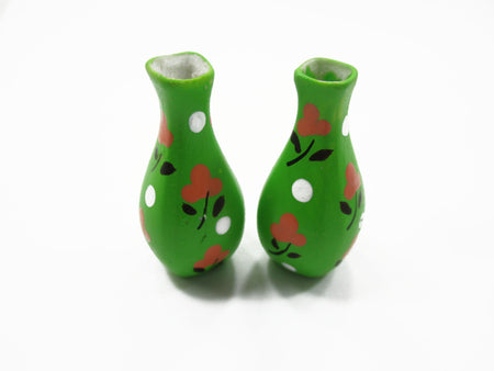 Dollhouse Ceramic Miniature 2 Vase Green Paint Flower Plant Accessories 14860